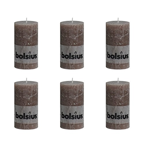 6 I singari spuntati candele Rustic 130/68, colore tortora