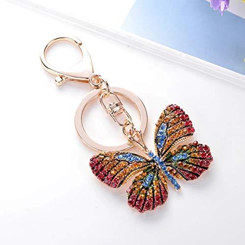 JINGRU Keyring,Beautiful Butterfly Keychain Blinking Colorful Crystal Alloy Keychain Fashion Creative Woman Girl Car Bag Charm Keychain Gift