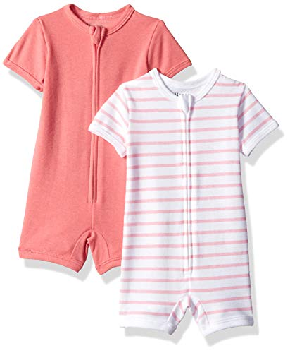 Hanes Ultimate Baby Zippin 2 Pack Rompers, Pink Stripe, 0-6 Months