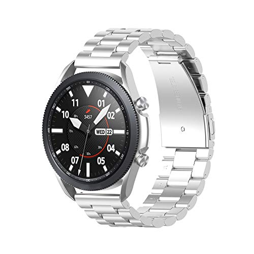 RuenTech Compatible con Samsung Galaxy Watch 3 45 mm/Samsung Galaxy Watch 46 mm/Amazfit GTR 47 mm pulsera de metal acero inoxidable pulsera de repuesto 22 mm accesorios (plata)