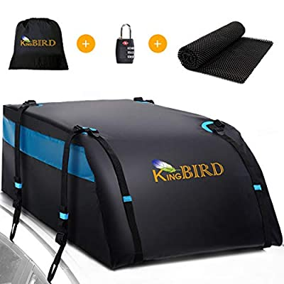KING BIRD 100% Waterproof Roof Bag with Non-Slip Mat, 20 Cubic Feet Aerodynamic Car Top Cargo Carrier Bag +4 Heavy Duty Door Hooks +10 Noiseless Straps, Fit All Vehicles with/Without Rack