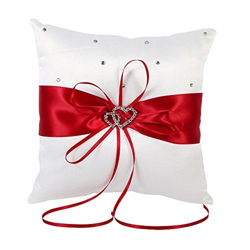 Cinta decorativa almohada anillo portador almohada cojín romántico con bowknot doble corazón rhinestone, ceremonia de la boda decoración del hogar(rojo)