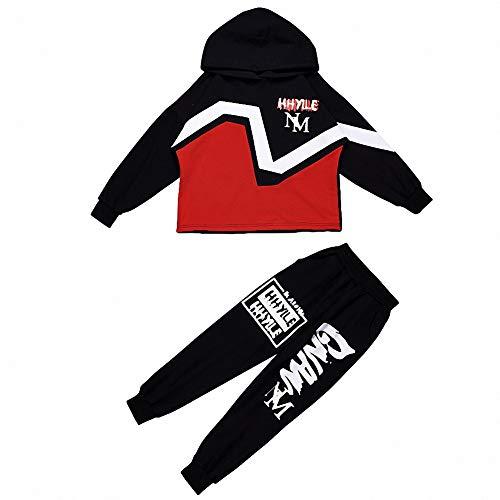 DSGYZQ Kinder Hiphop Kleidung Hiphop Anzug Hiphop Kostüm Kinderkleidung für Jungen und Mädchen,A,150cm
