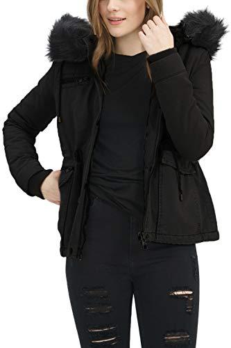 trueprodigy Casual Damen Marken Parka Kunstfell Damenjacke Kapuze Sportlich Anorak Slim Fit Winterjacke Frauen, Größe:M, Farben:Schwarz