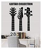 Pegatina Pared Pegatinas Apliques De Pared De Vinilo Colección De Guitarras Tienda Instrumento Musical Dormitorio Juvenil Bar Discoteca Cartel Decoración De Arte Para El Hogar 42X51 cm