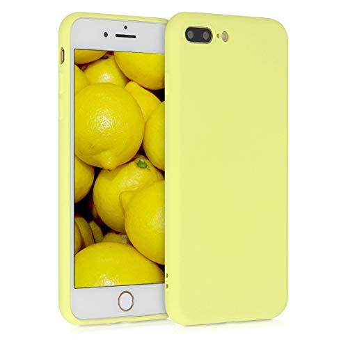 kwmobile Cover Compatibile con Apple iPhone 7 Plus / 8 Plus - Custodia in Silicone Effetto Gommato - Back Case Protezione Cellulare - Giallo Chiaro Matt