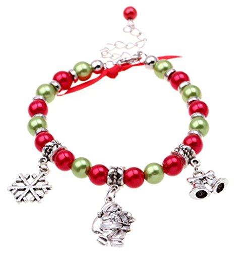 Zentto Damen Perlen Armband Weihnachts-Armband mit Weihnachtsmann Schneeflocke Basteln Bell Anhänger Frauen Bracelet Armband Schmuck für Damen Armband Modeschmuck Zubehör-18+5cm