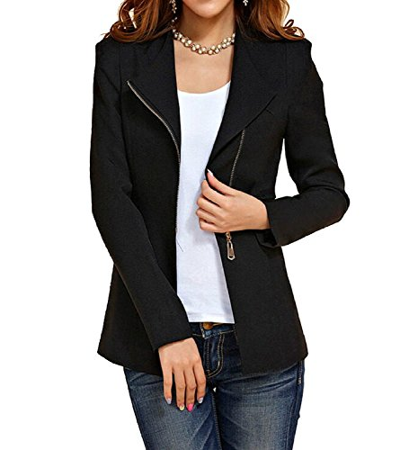 Aro Lora Women's Autumn Oversize Slim Fit Bodycon Zipper Suit Coat Jacket Blazer Outwear US 6-8 Black
