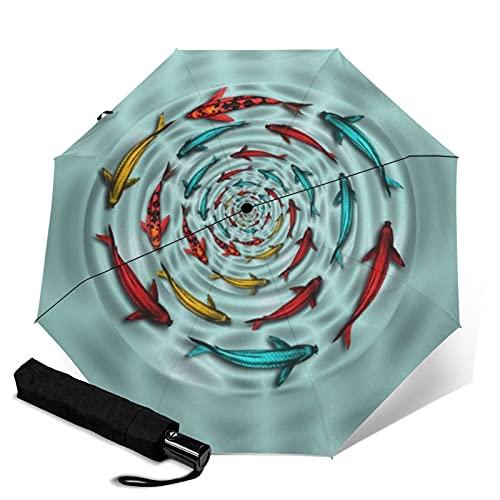 Paraguas automático de tres pliegues, resistente y automático, con cierre abierto, resistente al viento, plegable, para viajes, protección UV, protección UV, colorido Koi Fish Circle Mojo