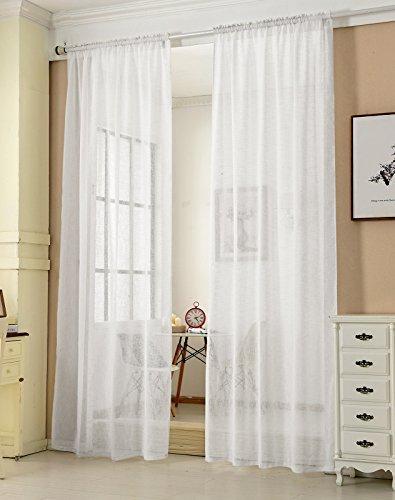 Transparente Gardine mit Kräuselband 2 Stücke Fensterschal in Leinen-Optik Dekoschal in Weiß 140x225 cm Fenstervorhang für Schlafzimmer Kinderzimmer Küche Stores Vorhang