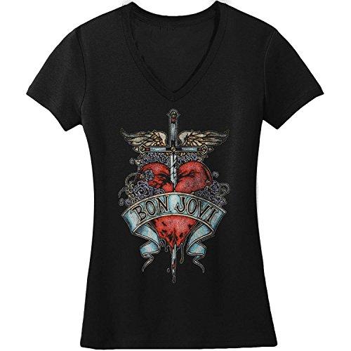 Bon Jovi - Camiseta de corazón y daga para mujer