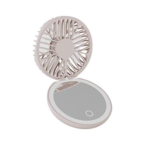 breaxme Mini Ventilateur Portable Miroir de Maquillage pour Femmes LED lumière d'appoint Rechargeable Ventilateur de Poche
