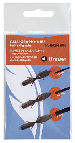 Brause 16500B Kalligraphie-Set (Blisterpackung 3 Schreibfedern Bandzug sortiert)