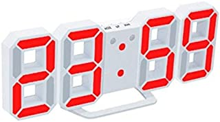 Wall Clocks - 3D Morden LED Digital Wall Clock Table Desk Alarm Watch Durable Night Light Lamp (White Red Digits)
