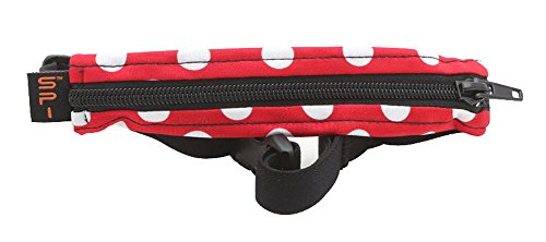 """SPIbelt Running Belt Large Pocket, No-Bounce Waist Bag for Runners, iPhone 6 7 8-Plus X Athletes and Adventurers (Red/White Polka with Black Zipper, 25"""" Through 47"""")"""