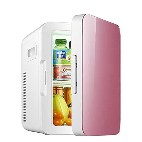 8L Mini Nevera,Frigorífico 12 V/110-220 V para Coche y Casa, Pequeña Nevera con función de Frío y Calor para Skincare, Alimentos, Bebidas, manijas Laterales Portátil, Incluye Estantes Extraíbles,Pink
