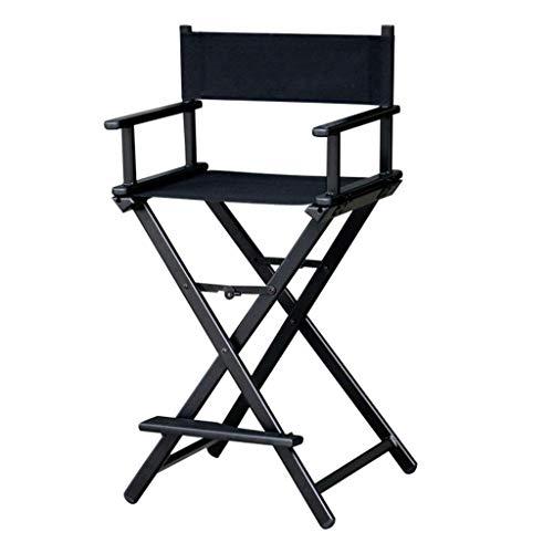 Klappbarer Hocker Tragbarer Aluminium-Canvas-Stuhl, 27-Zoll-Hochstuhl mit einfachem Barstuhl, Esstischsessel, Belastung: 220 lbs, Farbe: Schwarz/Grau