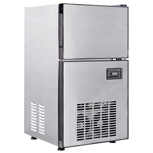 vidaXL Eiswürfelbereiter EIS Würfel Maschine Gastro Gastronomie Eismaschine Eiswürfelmaschine Eiswürfel Ice Maker 420W 50kg/24h Edelstahl
