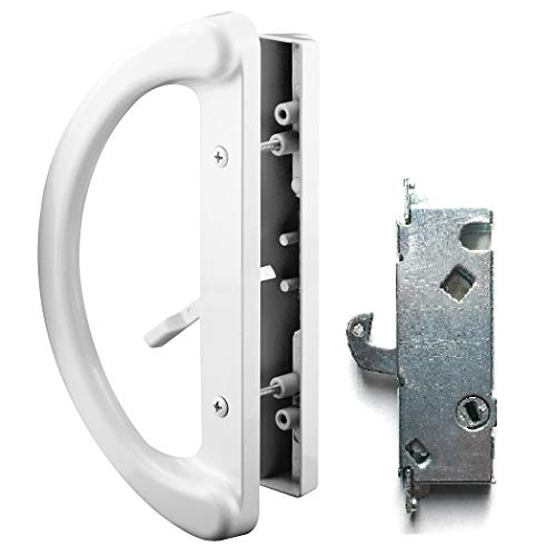 """Patio Door Handle Set + Mortise Lock 45°, Perfect Fitting 2 Handle White Replacement for Sliding Doors Using 3-15/16"""" Hole Spacing & Mortise Style Latch Locks by Essential Values"""