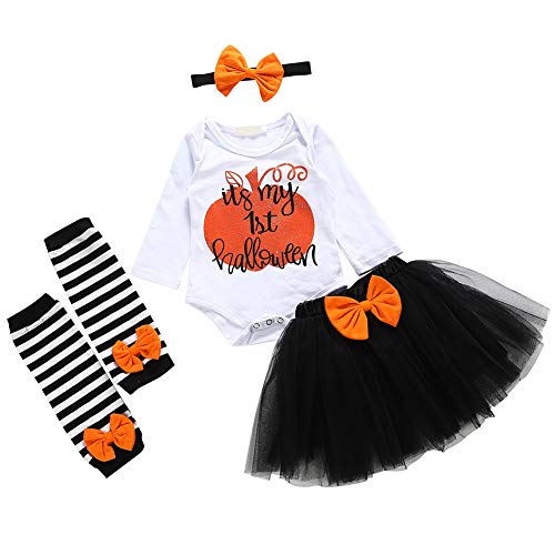 Gizayen Set 6 Pezzi Neonata Costume da Halloween Tuta Cosplay Gonna Gonna Neonato