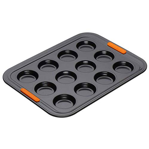 Le Creuset Moule à 12 Tartelettes Anti-Adhérent (Ø 6,5 cm), sans PFOA, Résistant au Levain, En Acier Siliconé, Anthracite/Orange