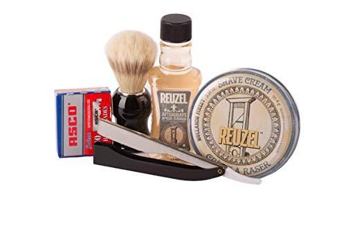 Reuzel Rasurset Basic 2.0- Shave Cream+After Shave+Rasierpinsel+Rasiermesser+Rasierklingen