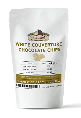 14 oz Cacaoholic White Couverture Chocolate Chips | 25.9% Cocoa, Low Fluidity | Resealable Stand Up Pouch