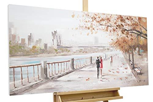 Kunstloft® Cuadro en acrílico 'Autumn Walk' 120x60cm | Original Pintura XXL Pintado a Mano sobre Lienzo | Pareja de Enamorados Naranja Azul | Cuadro acrílico de Arte Moderno