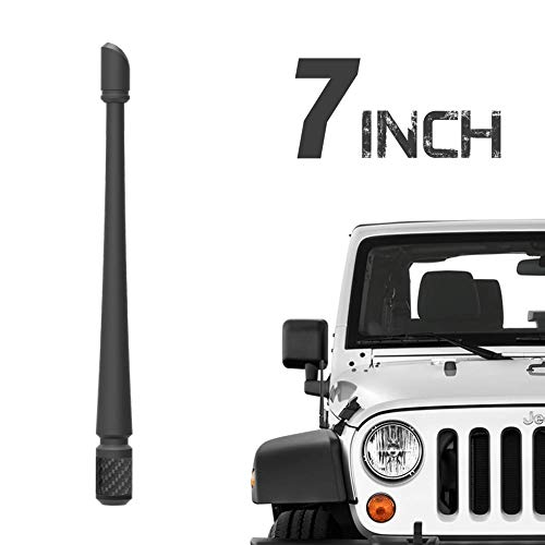 Rydonair Antenna Compatible with 2007-2021 Jeep Wrangler JK JKU JL JLU Rubicon Sahara Gladiator, 7 inches Flexible Rubber Antenna Designed for Optimized FM/AM Reception