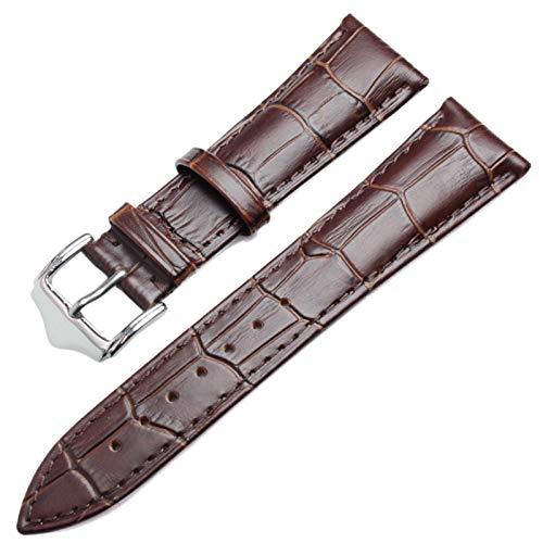 ZZDH Correa Reloj Cuero Correa Suave 18 mm 19 mm 20mm 21mm 22mm 24mm Negro Negro (Band Color : Brown, Band Width : 18mm)