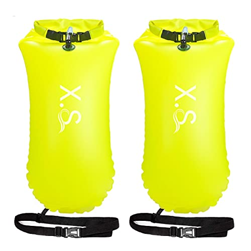 X.Store 2 Pack 20L Waterproof Swim Bouy with Storage Space Inflatable Dry Bag Bright Color Swim Safety Float for Open Water Swimmers, Triathletes, Kayakers and Snorkelers (Yellow)