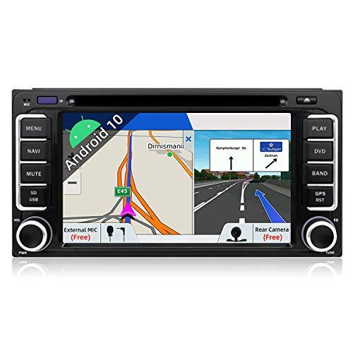 Cámara!! Android 9.0-2 Din 6.95' Quad-Core Coche Navegación GPS Estéreo Soporte WIFI/Bluetooth/Subwoofer/Mirror Link/OBD2/DAB para Toyota RAV4/Corolla/Vitz Eco/Vios Camry/Hilux/Prado/Land Cruiser 100