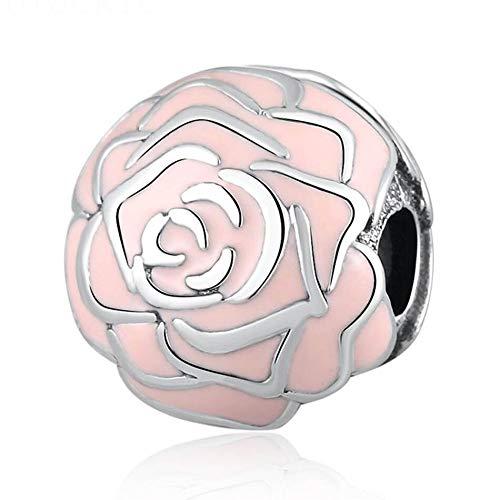 Pandora 925 Plata de ley DIY Rose Garden Clip Rose Esmalte Beads Charm Fit Lady Pulsera para joyería