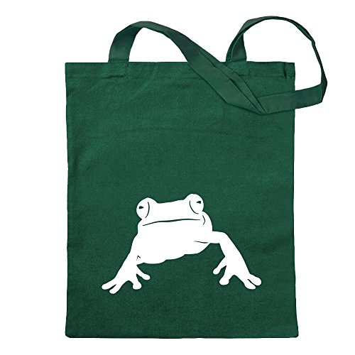 Kiwistar Frosch Frog Teich Tragetasche Baumwolltasche Stoffbeutel Umhängetasche Langer Henkel