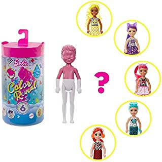 Barbie Color Reveal Chelsea Doll - Color Block Series with 6 Surprises for Kids 3 Years Old & Up GTT24