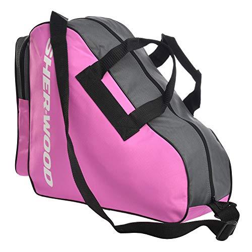 SHER-WOOD – Schlittschuhtasche mit Reisverschluss zum Tragen und Umhängen I Inliner-Tasche I Tasche für Inlineskates I Tragetasche für Schlittschuhe I stabil I einstellbare Schulterriemen - Pink