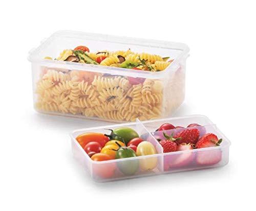 LOCK & LOCK Frischhaltedosen aus Kunststoff – eckig – Lunchbox mit Trennfach – 1,4 l