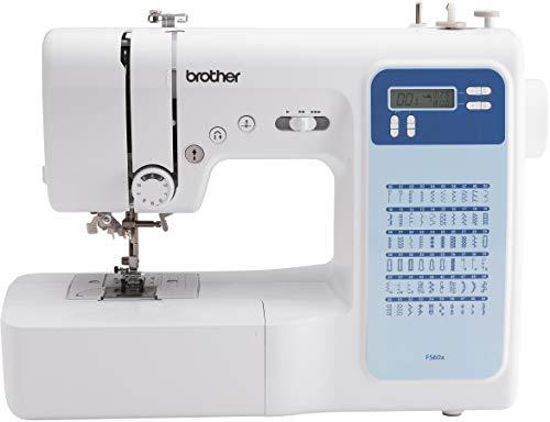 Brother FS60x - Máquina de coser electrónica con 60 puntos (utilitarios, elásticos, decorativos), costura automática, pantalla multifunción.
