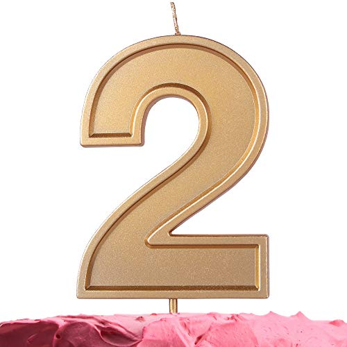 GET FRESH Number 2 Birthday Candle – Extra Large Gold Number Two Candle on Stick – 10 cm Gold Number Candles for Birthday Anniversary Wedding – Two Bday Candle Cake Topper – Large Gold 2 Candle