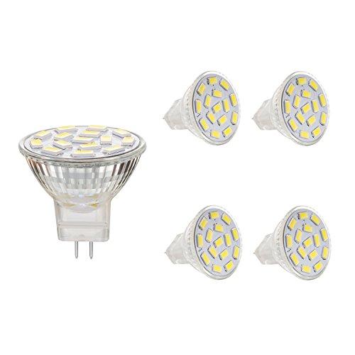 BOGAO MR11 GU4.0 3.5 W Led bombillas, Equival 25 - 35 W lámparas halógenas AC/DC 12 V, 350 lm, 120 ° Flood viga, empotrable, iluminación, iluminación de la pista, luz blanca (6000 K),4 unidades
