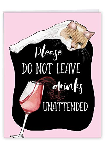 NobleWorks - Big Funny Adult Birthday Card (8.5 x 11 Inch) - Wine and Cats Humor, Jumbo Group Notecard - Cat Antics Drinks J3638BBDG