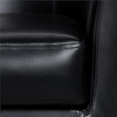 Yaheetech Accent Chairs Set of 2 Faux Leather Barrel Chair Side Chairs Club Chair for Bedroom Living Reading Room, Black