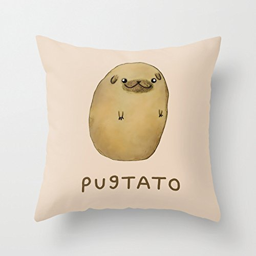 AHArtSaleStore O11L Pug Potato Decoration Pillow Case Cushion Cover 18 inch