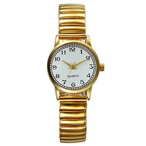 Lancardo Reloj Analógico de Movimiento Cuarzo Original Dial con Grandes Números Árabes Pulsera Electrónica de Moda con Correa Elástica para Mujer Dama Chica (Oro)