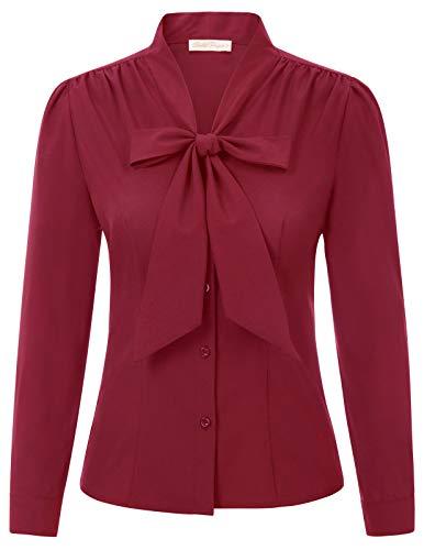 Belle Poque elegant Vintage Retro weinrot Oberteil Damen Langarm Tops Sommer Casual Hemd L BP2023-3