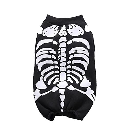Naisedier Gato Perro Fiesta de Halloween Esqueleto del Animal domstico del Mono Cosplay de Vestir Gatito del Perrito de Ropa Proporcionar Visual Disfrute (Negro, L)