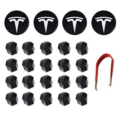 Tesla Model 3 Y S X Kit de Tapa de Rueda Tapa Central Tapa de Tuerca de orejeta (Tapa Central de 4 bujes + 20 Tapa de Tuerca de Tapa) Accesorios Tesla Blancos