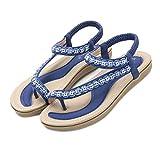 Sandalias Mujer Verano 2021 Bajo Fiesta Sandalias Mujer Verano Planas Bohemia Sandalias Cómodo Casual Zapatos De Playa Sandalias Comodas Mujer Flip Flop Mujer Sandalias (38,Blue)