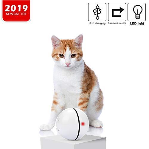 Homealexa Katzenspielzeug Elektrisch Katzenball interaktives Spielzeug für Katzen, Automatischer Rollender Ball mit LED Licht USB-Aufladung