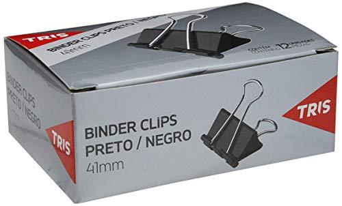 Binder Clips 41mm, Tris, Preto, Caixa com 12 Unidades